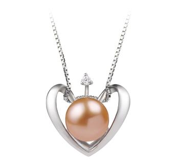Cœur Rose 9-10mm AA-qualité perles d'eau douce 925/1000 Argent-pendentif en perles