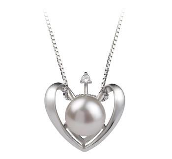 Coeur Blanc 9-10mm AA-qualité perles d'eau douce 925/1000 Argent-pendentif en perles