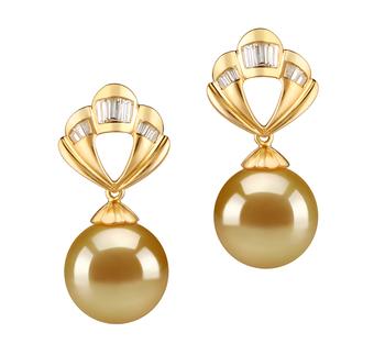 Helena Or 10-11mm AAA-qualité des Mers du Sud 585/1000 Or Jaune-Boucles d'oreilles en perles