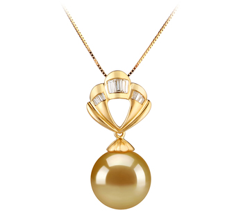 Helena Or 12-13mm AAA-qualité des Mers du Sud 585/1000 Or Jaune-pendentif en perles
