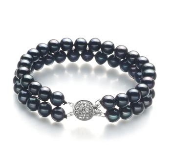 Henrike Noir 6-7mm AA-qualité perles d'eau douce -Bracelet de perles