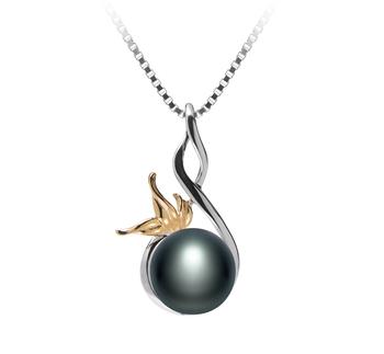 Hester Noir 8-9mm AAA-qualité perles d'eau douce 925/1000 Argent-pendentif en perles