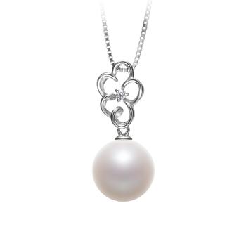 Hilary Blanc 10-11mm AAAA-qualité perles d'eau douce 925/1000 Argent-pendentif en perles