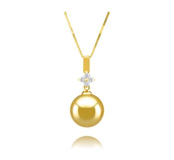Hilda Or 10-11mm AAA-qualité des Mers du Sud 585/1000 Or Jaune-pendentif en perles