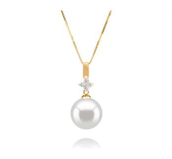 Hilda Blanc 10-11mm AAA-qualité des Mers du Sud 585/1000 Or Jaune-pendentif en perles
