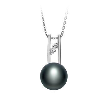 Hiriko Noir 9-10mm AA-qualité perles d'eau douce 925/1000 Argent-pendentif en perles