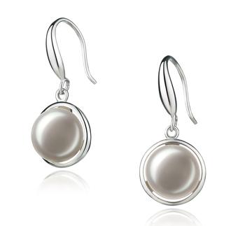 Holly Blanc 9-10mm AA-qualité perles d'eau douce 925/1000 Argent-Boucles d'oreilles en perles