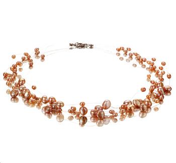 Illusion Rose 4-8mm A-qualité perles d'eau douce -Collier de perles