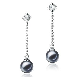 Ingrid Noir 6-7mm AAAA-qualité perles d'eau douce 925/1000 Argent-Boucles d'oreilles en perles