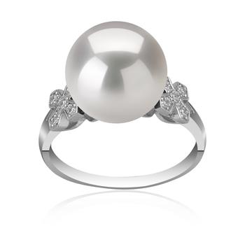Ireland Blanc 12-13mm AA+-qualité perles d'eau douce - Edison 925/1000 Argent-Bague perles