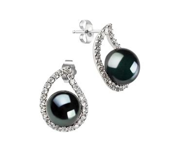 Isabella Noir 9-10mm AA-qualité perles d'eau douce 925/1000 Argent-Boucles d'oreilles en perles