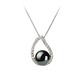 Isabella Noir 9-10mm AA-qualité perles d'eau douce 925/1000 Argent-pendentif en perles