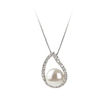 Isabella Blanc 9-10mm AA-qualité perles d'eau douce 925/1000 Argent-pendentif en perles
