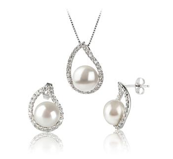 Isabella Blanc 9-10mm AA-qualité perles d'eau douce 925/1000 Argent-un set en perles