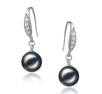Rieubon Noir 8-9mm AA-qualité Akoya du Japon 925/1000 Argent-Boucles d'oreilles en perles