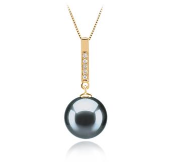 Janet Noir 10-11mm AAA-qualité de Tahiti 585/1000 Or Jaune-pendentif en perles