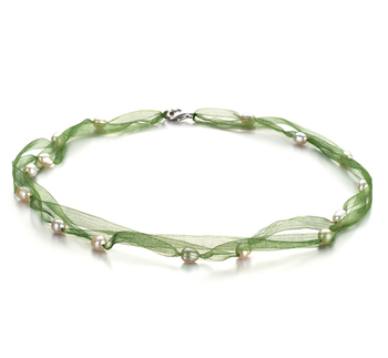 Jasmin vert Blanc 5-6mm A-qualité perles d'eau douce -Collier de perles