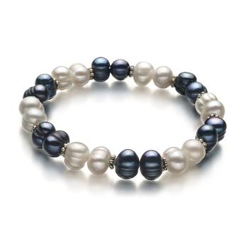 Jemima Noir et Blanc 6-7mm A-qualité perles d'eau douce -Bracelet de perles