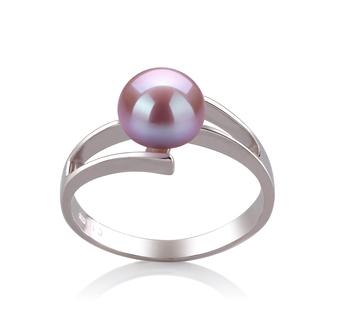 Jenna Lavande 7-8mm AAA-qualité perles d'eau douce 925/1000 Argent-Bague perles