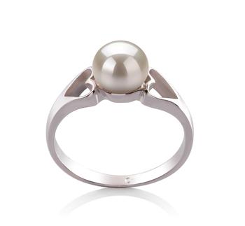 Jessica Blanc 6-7mm AA-qualité perles d'eau douce 925/1000 Argent-Bague perles