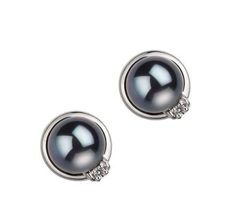 Jocelyne Noir 6-7mm AA-qualité Akoya du Japon 925/1000 Argent-Boucles d'oreilles en perles