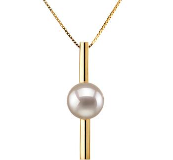 Johana Blanc 7-8mm AA-qualité Akoya du Japon 585/1000 Or Jaune-pendentif en perles