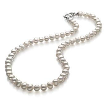Joyce Blanc 8-9mm A-qualité perles d'eau douce 925/1000 Argent-Collier de perles