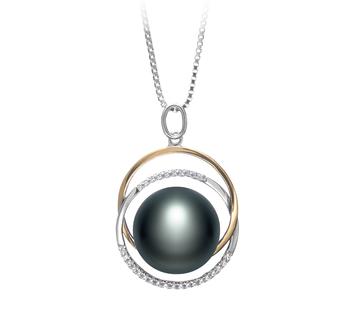 Judith Noir 12-13mm AA-qualité perles d'eau douce 925/1000 Argent-pendentif en perles