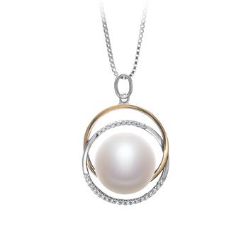 Judith Blanc 12-13mm AA-qualité perles d'eau douce 925/1000 Argent-pendentif en perles