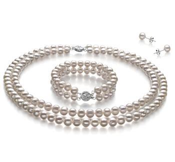 Juliane Blanc 6-7mm A-qualité perles d'eau douce 925/1000 Argent-un set en perles