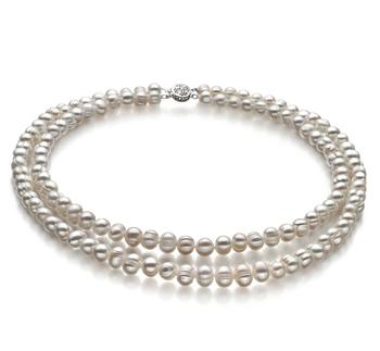 Julienne Blanc 6-7mm A-qualité perles d'eau douce 925/1000 Argent-Collier de perles