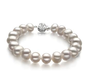 Kaitlyn Blanc 8-9mm A-qualité perles d'eau douce -Bracelet de perles