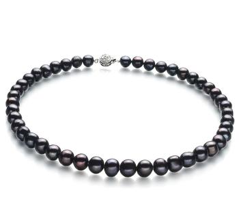 Kaitlyn Noir 8-9mm A-qualité perles d'eau douce -Collier de perles