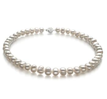 Kaitlyn Blanc 8-9mm A-qualité perles d'eau douce 925/1000 Argent-Collier de perles
