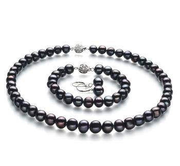 Kaitlyn Noir 8-9mm A-qualité perles d'eau douce 925/1000 Argent-un set en perles