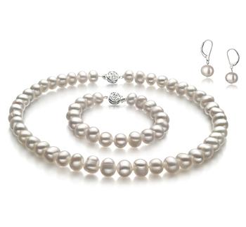 Kaitlyn Blanc 8-9mm A-qualité perles d'eau douce -un set en perles