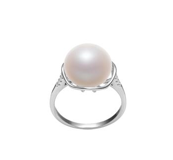Kalina Blanc 11-12mm AAA-qualité perles d'eau douce 925/1000 Argent-Bague perles