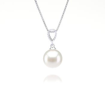 Karen Blanc 9-10mm AAAA-qualité perles d'eau douce 925/1000 Argent-pendentif en perles