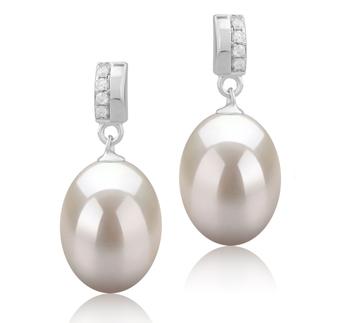 Karley Blanc 9-10mm AAA-qualité perles d'eau douce 925/1000 Argent-Boucles d'oreilles en perles
