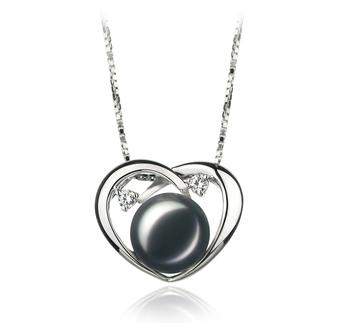 Katie Coeur Noir 9-10mm AA-qualité perles d'eau douce 925/1000 Argent-pendentif en perles