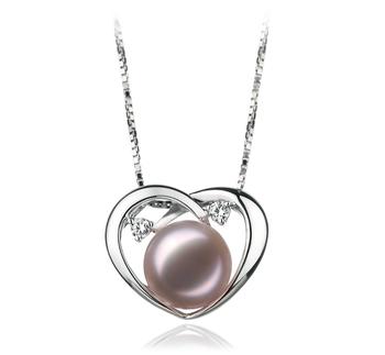 Katie Coeur Lavande 9-10mm AA-qualité perles d'eau douce 925/1000 Argent-pendentif en perles