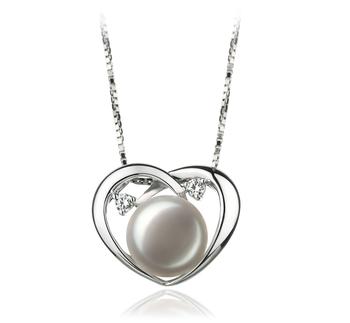 Katie Coeur Blanc 9-10mm AA-qualité perles d'eau douce 925/1000 Argent-pendentif en perles