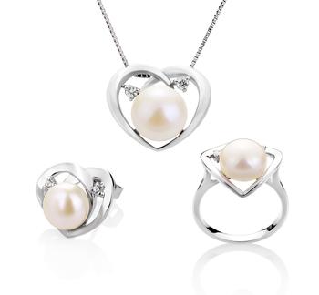 Katie Coeur Blanc 7-10mm AA-qualité perles d'eau douce 925/1000 Argent-un set en perles
