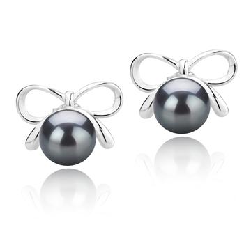 Kayla Noir 8-9mm AAA-qualité de Tahiti 925/1000 Argent-Boucles d'oreilles en perles
