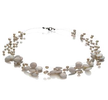 Keita Blanc 4-10mm A-qualité perles d'eau douce -Collier de perles
