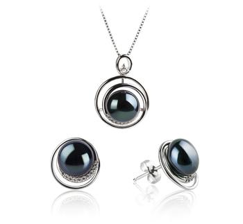 Kelly Noir 9-10mm AA-qualité perles d'eau douce 925/1000 Argent-un set en perles