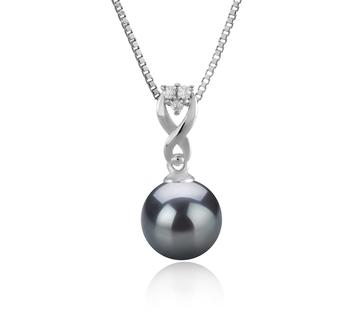 Kendra Noir 8-9mm AAAA-qualité perles d'eau douce 925/1000 Argent-pendentif en perles