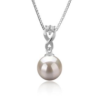 Kendra Blanc 8-9mm AAAA-qualité perles d'eau douce 925/1000 Argent-pendentif en perles