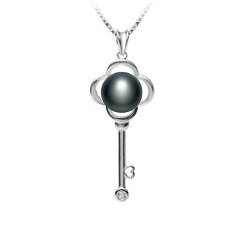 Clé Noir 8-9mm AAA-qualité perles d'eau douce 925/1000 Argent-pendentif en perles