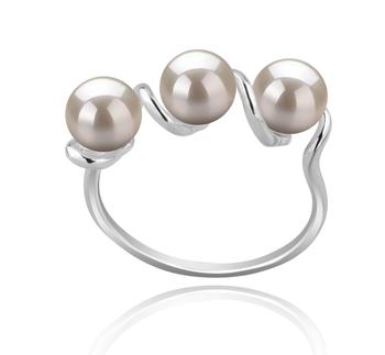 Kitty Blanc 5-6mm AAAA-qualité perles d'eau douce 925/1000 Argent-Bague perles